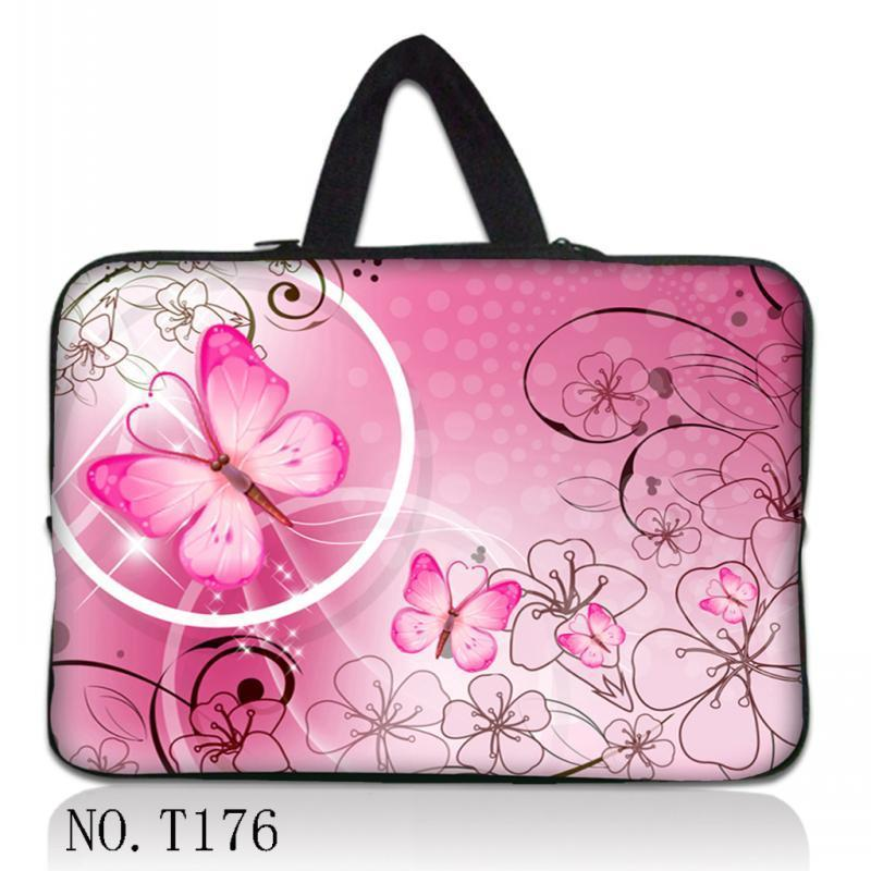 Pink Butterfly Multi-size neoprene customized zipper unisex laptop bags for macbook laptop sleeve 12131415inch newst fashion