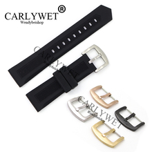 Фотография CARLYWET 20 22mm Wholesale Black Silicone Rubber Straight End Watch Band Strap Belt With Silver Color Pin Buckle For Tag CARRERA