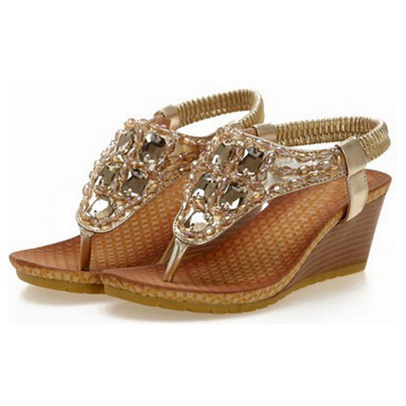 Nice Summer Wedges Sandals With Rhinestone Crystal Female Fashion Sexy Bling Platform Flip Flops Casual Shoes Woman P5c55