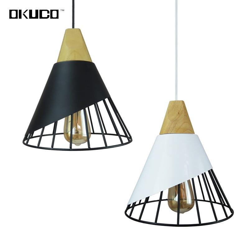Black Vintage Wood Pendant Lights For Dining Room Retro Restaurant Lighting Fixtures Industrial Home Hanging Lamp Art Deco