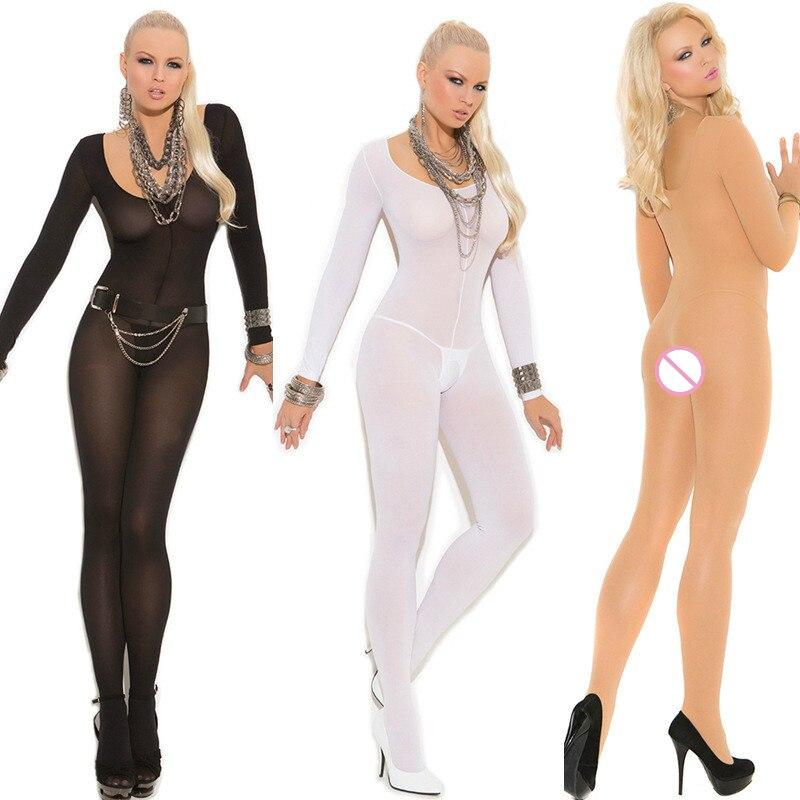 Buy 2018 Sexy Porn Babydoll Bodysuit Nylon Stockings Long Sleeve Body Stocking Open Crotch Sleepwear Underwear Erotic Costumes Women