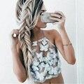 Mulheres elegantes rendas top curto 2016 do partido do verão branco curto sem encosto halter encabeça gola Alta meninas tanque cami topo