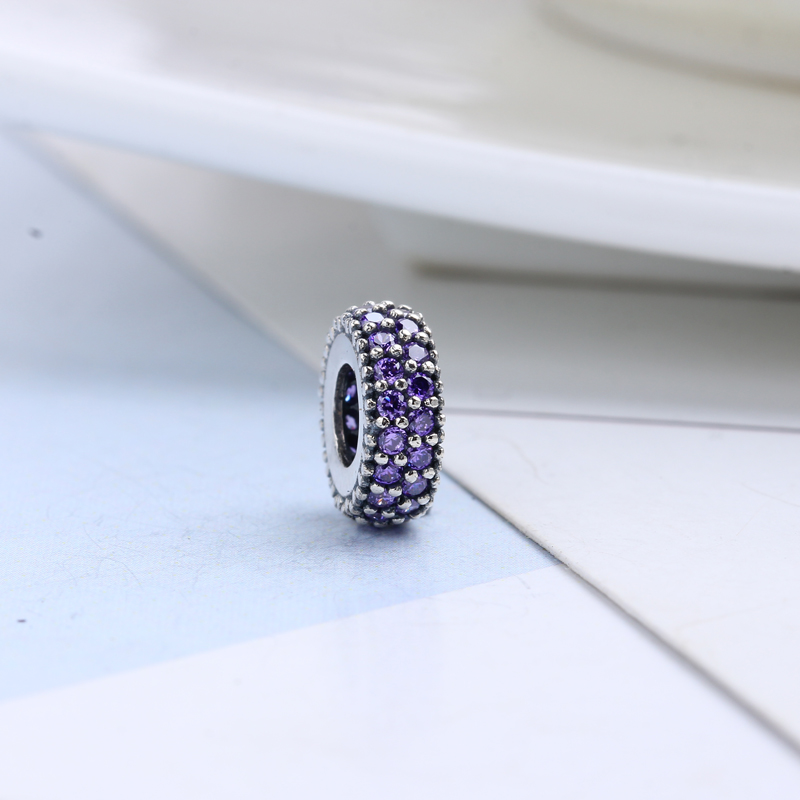 100% Real 925 Sterling Silver Purple Pave CZ Stones Crystal Spacer Beads for Jewelry Making Fit Original Pandora Bracelets Charm