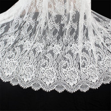 3M/lot Classic Eyelash Lace Trim White Soft Floral Decoration Crafts Sewing For Dress Making