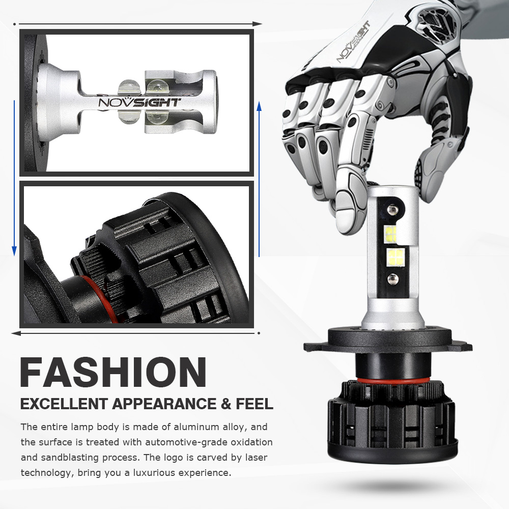 Image 5 - NOVSIGHT 2PCS 60W 18000LM H4 H7 H11 H8 HB4 H1 H3 HB3 9005 9006 9007 H13 Car LED Headlight Bulbs 6500K Cool White Car Lamps-in Car Headlight Bulbs(LED) from Automobiles & Motorcycles