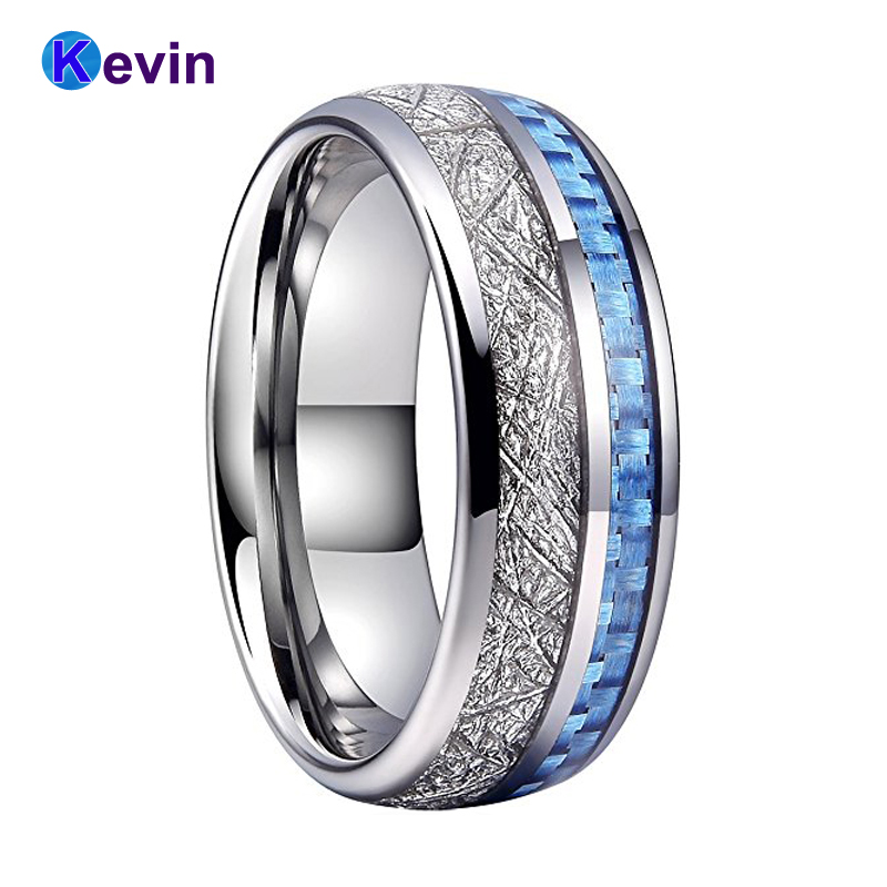 Men Women Wedding Band Rings Tungsten Band With Light Blue Carbon Fiber And White Meteorite Inlay active long sleeve blue and white women s crossover playsuit
