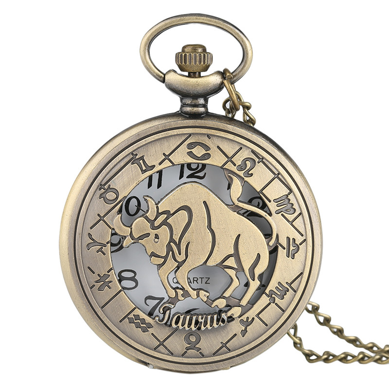 Half Hunter Hollow Taurus Twelve Constellations Theme Design Fob Pocket Watch Pendant Vintage Men Women Quartz Clock Gift Reloj