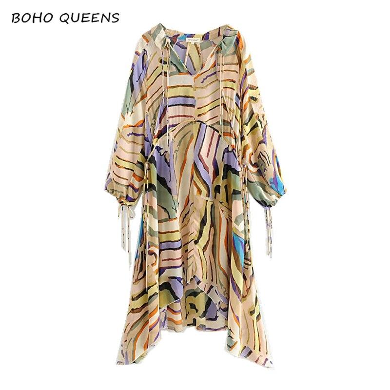 Vintage Chic Boho dress long sleeve Floral print beach Bohemian v neck chiffon Maxi dress Ladies