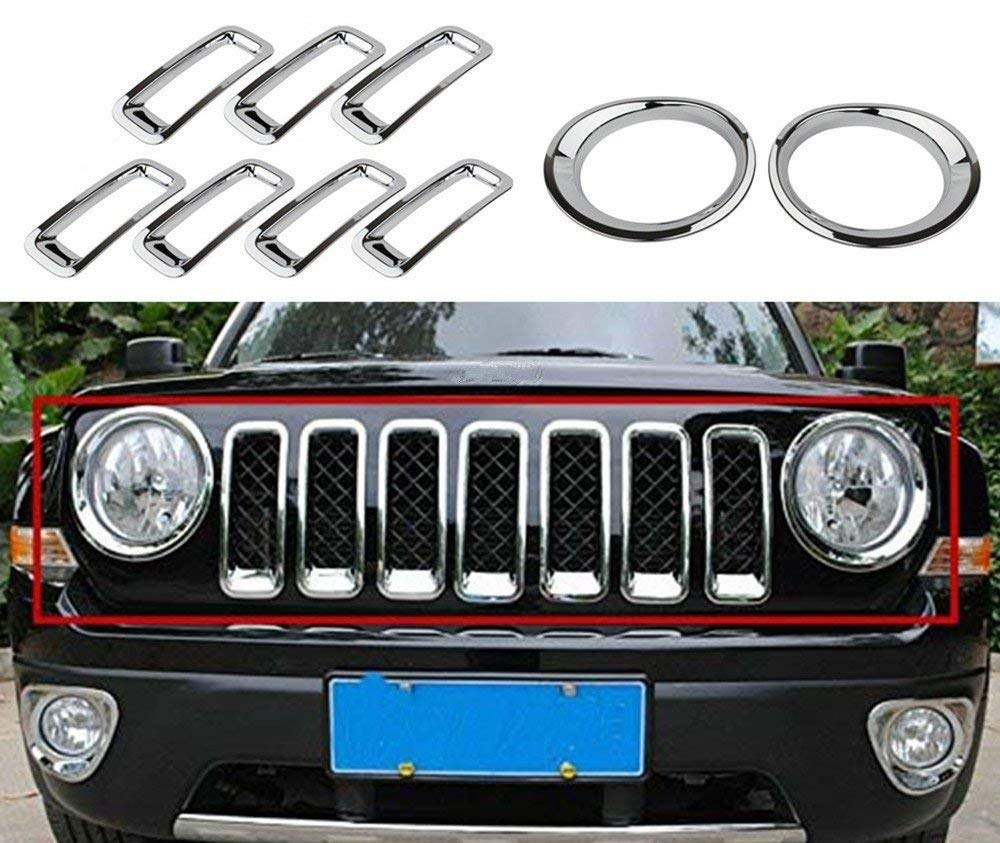 Chrome Silver Front Grille Grill Mesh Grille Insert Kit Head Light Lamp Covers Trim for Jeep