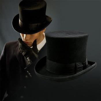 Unisex Steampunk sombrerero loco de sombrero tradicional vendimia lana  Sombreros de fieltro cilindro del truco del mago sombrero f47f251bf47