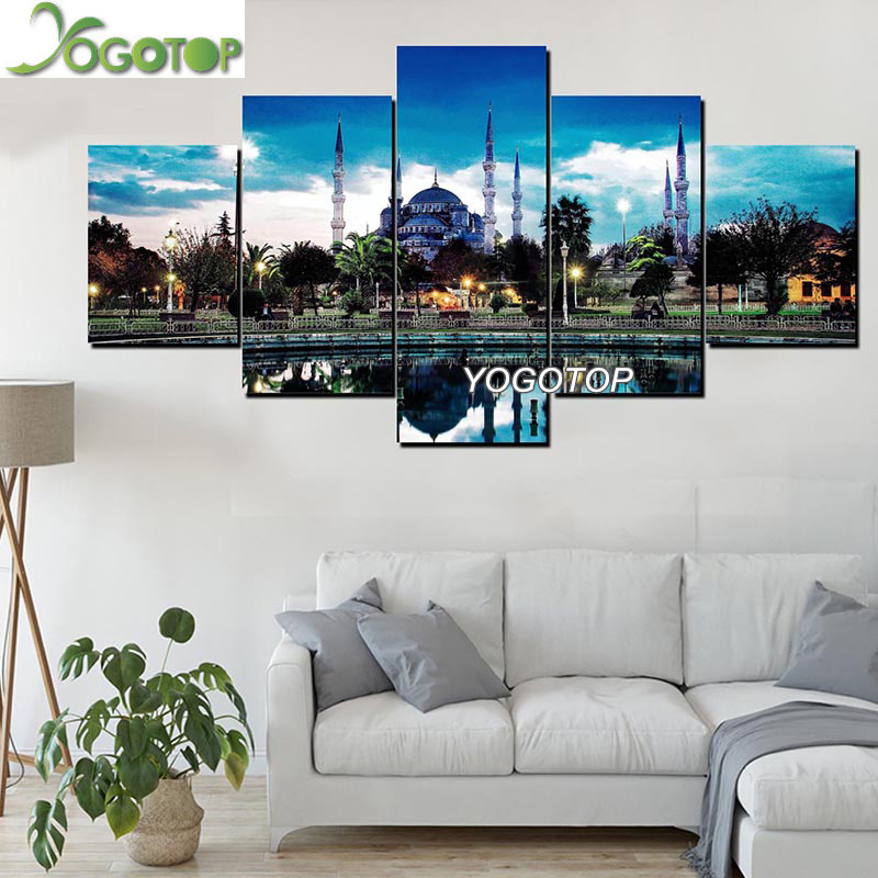 5pcs/set Diamond Painting cross stitch For Room Decoration Symbol of <font><b>Istanbul</b></font> Blue Mosque diamond embroidery mosaic kits ML797 image