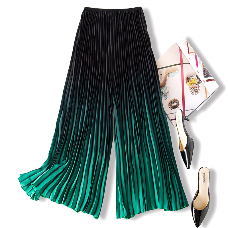 LANMREM 2019 Spring Summer New Pattern Fashion Gradient Color Pleated Trousers For Women Loose All match