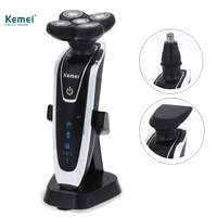 Kemei Electric Shavers 5D Floating Heads Washable Beard Body Use With Nose Trimmer Safety Professional Razor