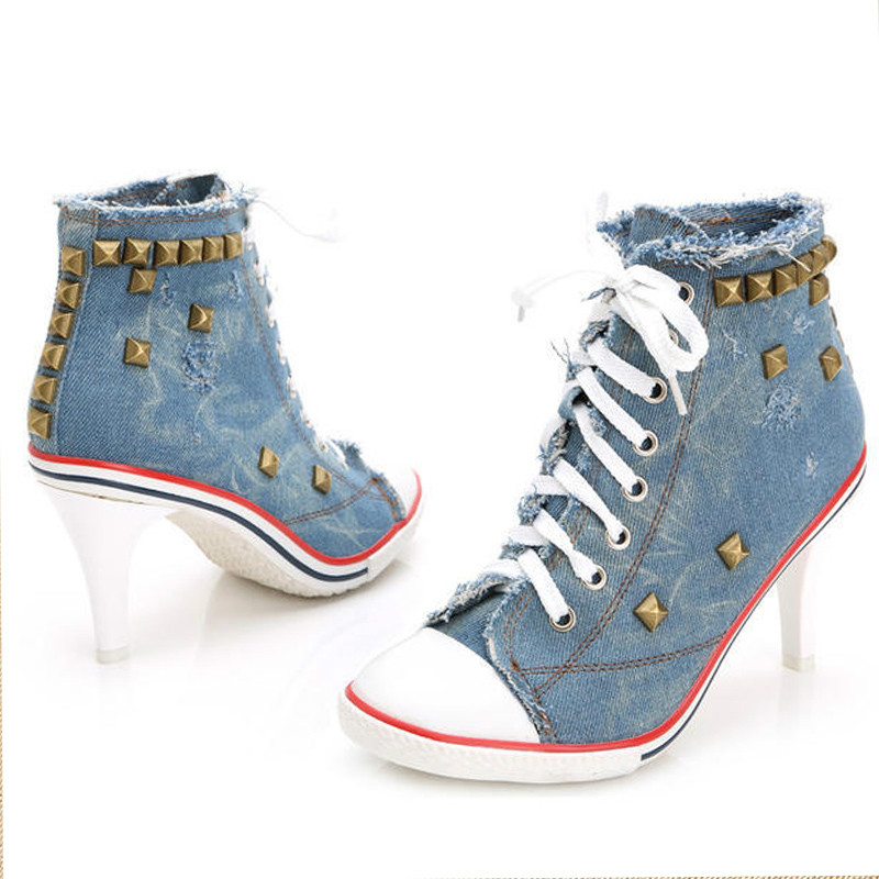 Livraison directe femmes toile chaussures Denim talons hauts Rivets chaussures mode femme chaussures lacets baskets femmes bottes courtes