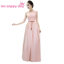 womens pink chiffon long a line lace floor length engagement dresses evening gown formal party wear dress for ladies H3839