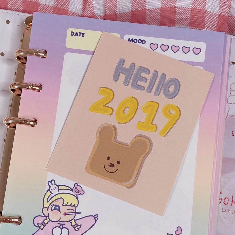 Купить с кэшбэком 8Pcs/Packs Cute Postcard Style Sticker Kawaii Bear Hand Account Decoration Handmade Sticker Cartoon Album Wall Sticker