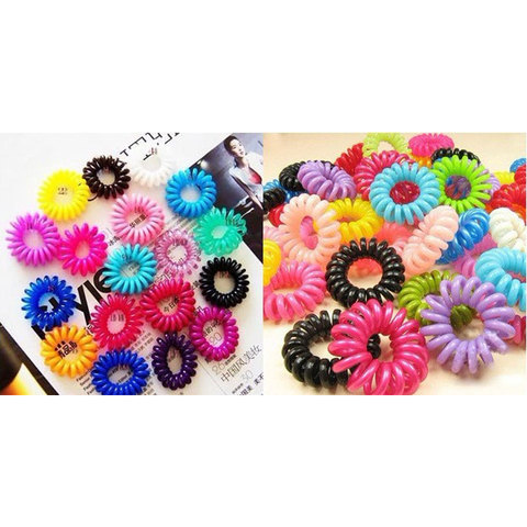 30pcs Mulit-color Telephone Wire Cord Girl Elastic Ring  Head Tie Hair Rope Hair Accessories Hair Styling Tools Braids Wholesale Multan