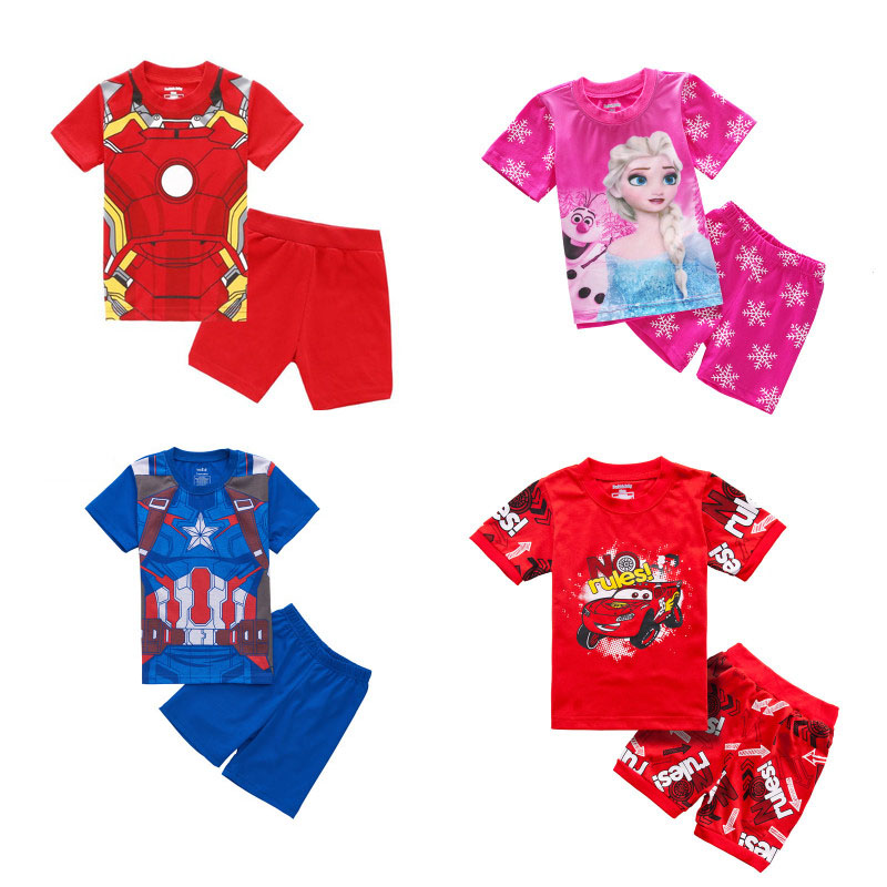 Children's Pajamas Summer Short-sleeved Tshirt + Shorts Sports Set Kids Pyjamas Boys Girls Pajamas Baby Sleepers Sleepwear