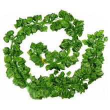 Konstgjorda Växter 12st / Parti 2m Konstgjord Ivy Leaf Garland Växter Vine Fake Löv Blommor Plast Växter För DIY Dekor