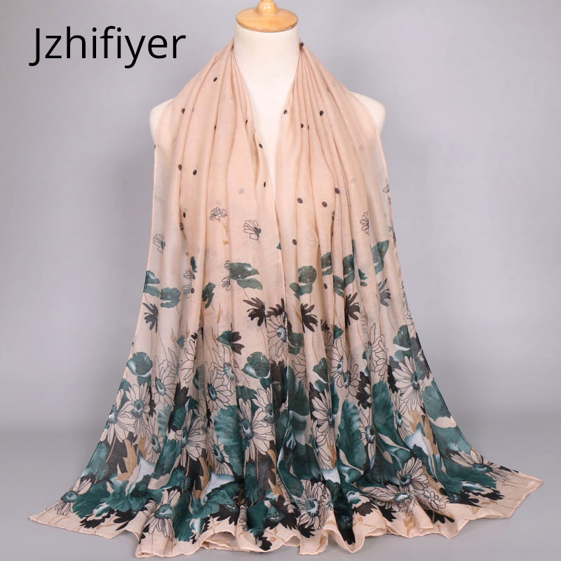 flower print scarf viscose cotton muslim hijab head cover bandana mujer stole beauty shawls multi colors patchwork 90x180cm