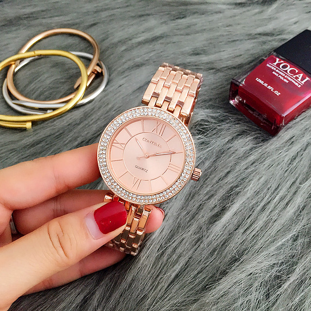 CONTENA Rose Gold Watch Women Watches Luxury Bracelet Women's Watches Rhinestone