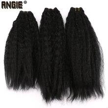 Siyah Sapıkça Düz Saç Demetleri 16 20 inç 3 parça/paket 210 Gram sentetik Kıvırcık Örgü saç ekleme kadınlar için