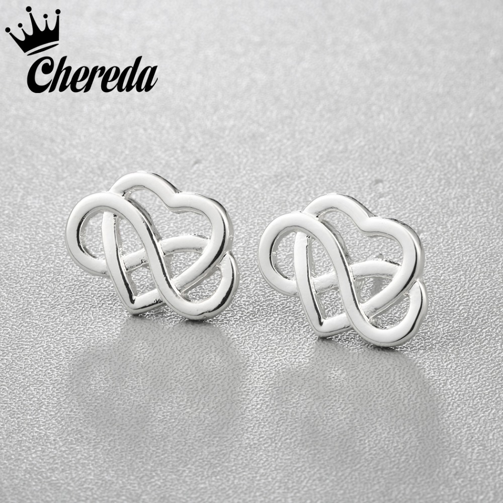 Chereda Silver Gold Color Stud Earring Classic Romantic Heart Earrings Alloy Fashion Women Men Earing Fine Accessories Present