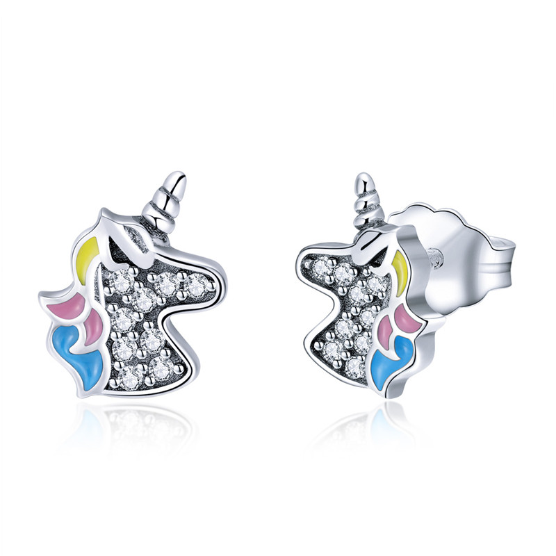 ChildrenS 925 Sterling Silver Ice Cream Colorful Ear Studs Girls