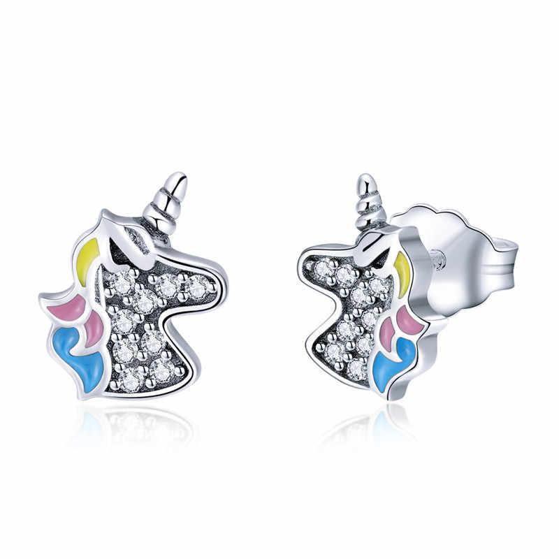 3bd96f879 Children Cute 925 Sterling Silver Cute Colorful Enamel White CZ Unicorn Stud  Earrings Little Girl S925