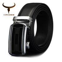 COWATHER Genuine Leather Belts For Men Automatic Ratchet Buckle Fashion Formal Leather Belts Big Size 110