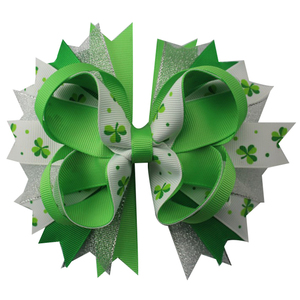 Image 4 - 6pcs  St. Patrickday green Funny Clover Faux hairgrips Hair Bows Grosgrain Ribbon For Girls Hair Accessories Boutique gifts