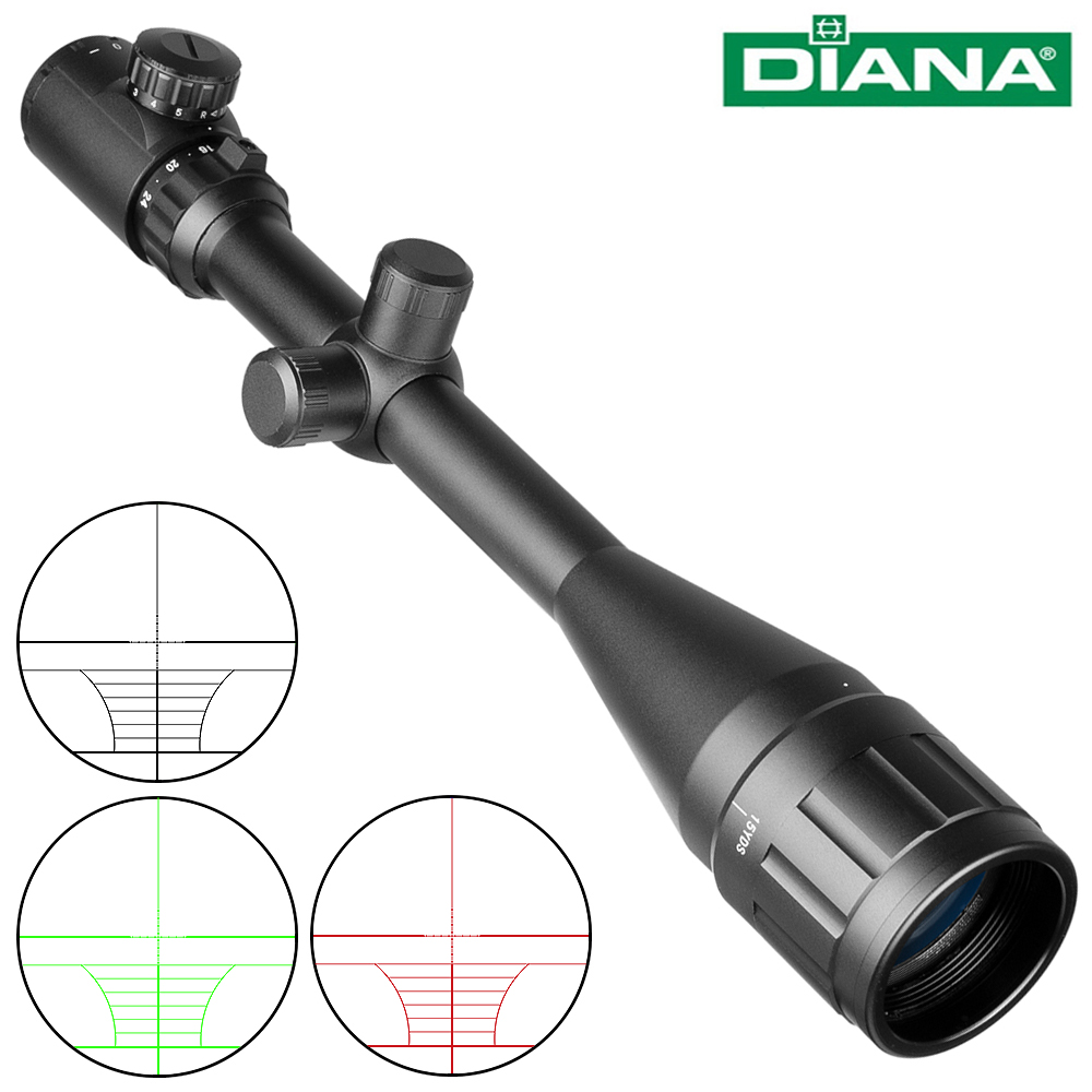 DIANA AOE 6-24X50 Scope Adjustable Green Red Dot Light Tactical Riflescope Reticle Optical Rifle Sight Hunting Scopes Air Gun