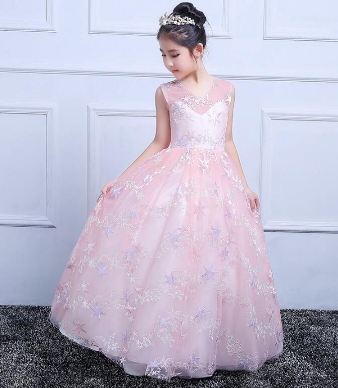 lower Girl Dresses Hole Ball Gown Pink Lace Sleeveless O Neck Long Wedding Christmas First Communion Dresses for Little Girls все цены
