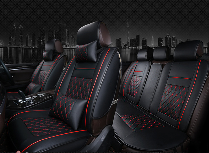 OUZHI easy clean waterproof grid pu leather car seat cover for HONDA civic TOYOTA corolla universal front and rear seat covers ouzhi brand black pu leather car seat cover front and back set for audi a1 a3 a4 a6 a5 a8 q1 q3 q5 qq7 car cushion covers