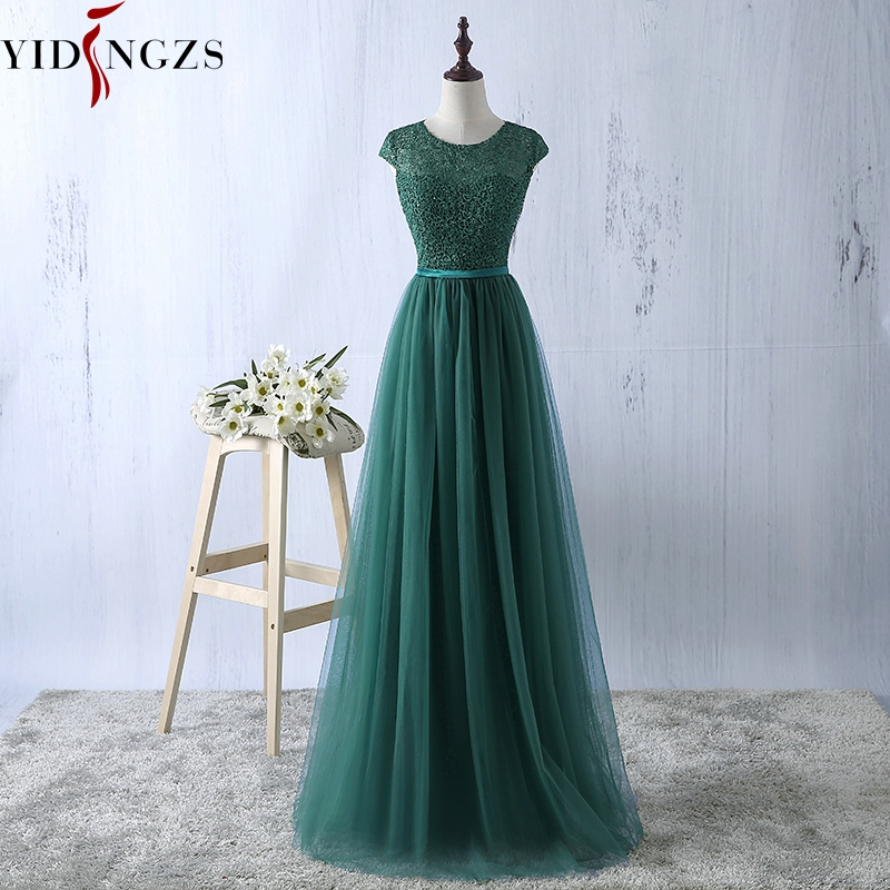 YIDINGZS Green   Evening     Dress   2019 New Arrive Lace Tulle A-line Formal Longo Robe De Soiree Party   Dress   Real Simple