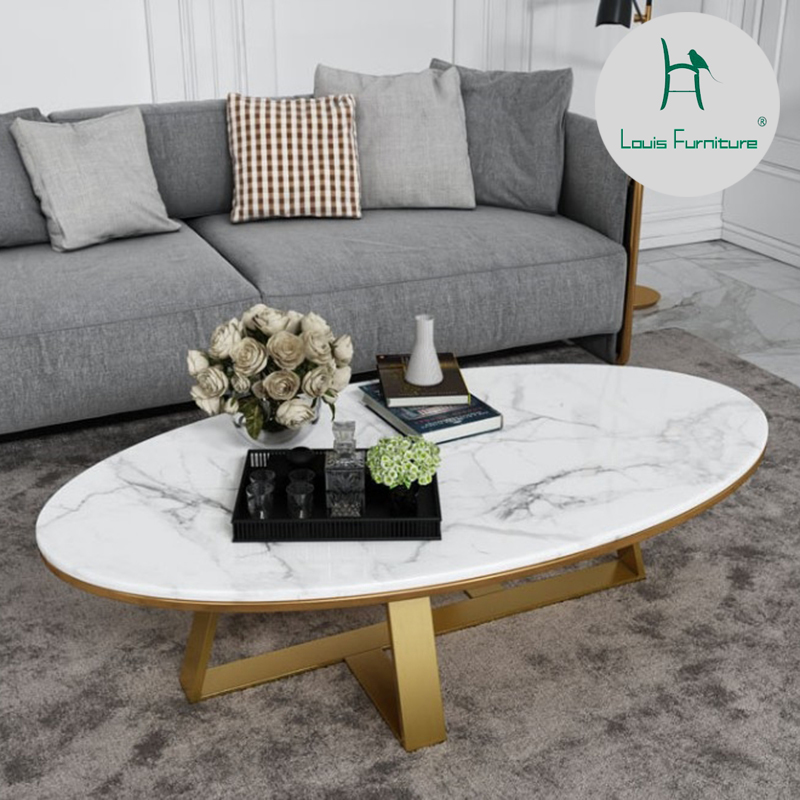 Louis fashion Coffee Tables Modern compact small oval ...