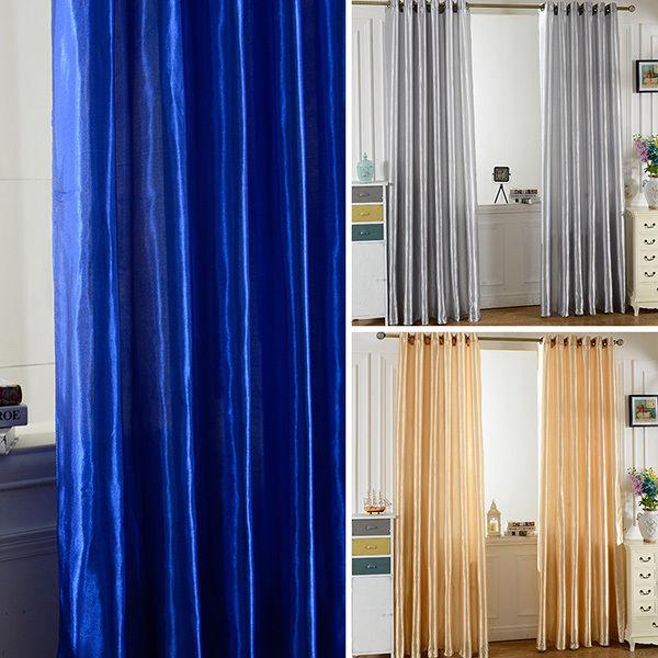 Window Screen Door Room Satin Blackout Lining Curtain Drapes Home