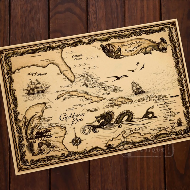 Map of Caribbean Sea Pirate Adventure Classic Vintage Retro Kraft ...