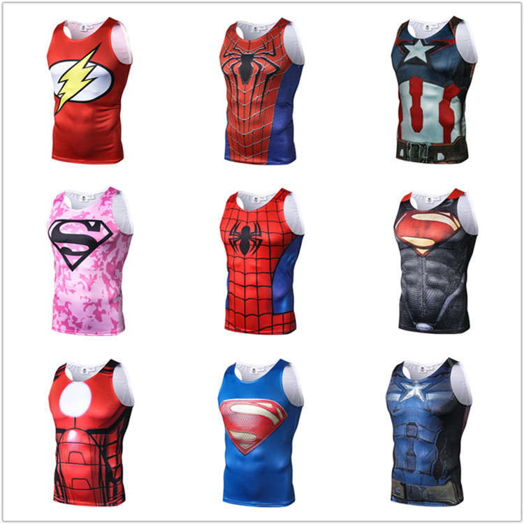 2018 New Multi-union Spider-Man Captain America Superman 3D Print Sleeveless Body-building Vest Elastic Men's Fitness Tank Tops