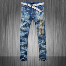 Top recommand  personality Men's brand designer Slim skinny pencil jeans tiger printing color drawing club wear MB549 Z20