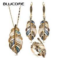 Blucome Abalone Shell Schmuck Sets Für Frauen Mischen Farbe Shell Strass Vintage Blume Blätter Baumeln Ohrring Halskette Ring Set