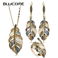 Blucome Abalone Shell   Jewelry     Sets   For Women Mix Color Shell Rhinestone Vintage Flower Leaves Dangle Earring Necklace Ring   Set
