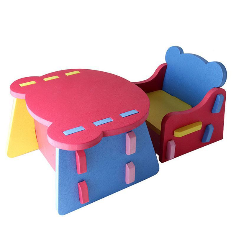 Portable DIY Assemble Baby Feed Chair & Desk Set Toddler Kids Children Seats Anti Collision Small Sofa PE Foam Support Seat