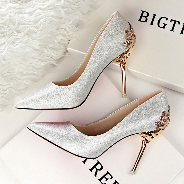 641d7fcbbe7e Fashion sexy carve patterns or designs woodwork metal high heel women s  shoes fine with shallow mouth pointed single marriage