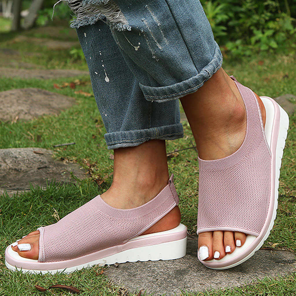 Sagace 2019 Fashion Wanita Kualitas Tinggi Mesh Bernapas Nyaman Sepatu Wanita Berongga Keluar Kasual Wedges Sepatu Ukuran Besar J14