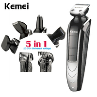 Kemei 5 In 1 Hair Trimmer New Cutter Electric Hair Clipper Rechargeable Shaver Razor Cordless