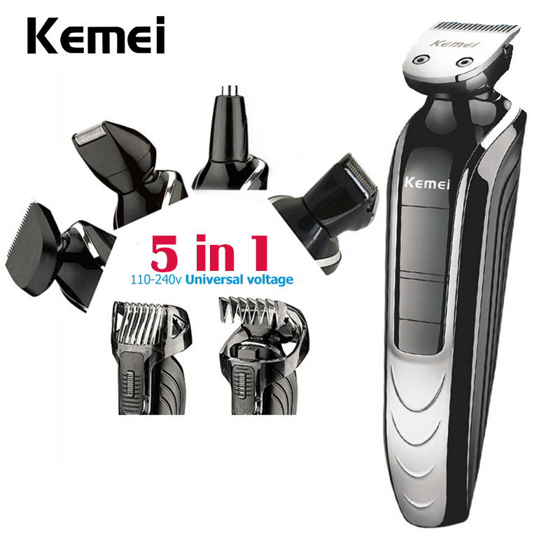 Kemei  5 in 1 Waterproof Rechargeable Electric Shaver Beard Trimmer New Cutter  Hair Clipper Nose Hair Trimmer For Men KM-1832 new arrival pritech brand electric hair clipper shaver nose trimmer for men traveling and good packing gift