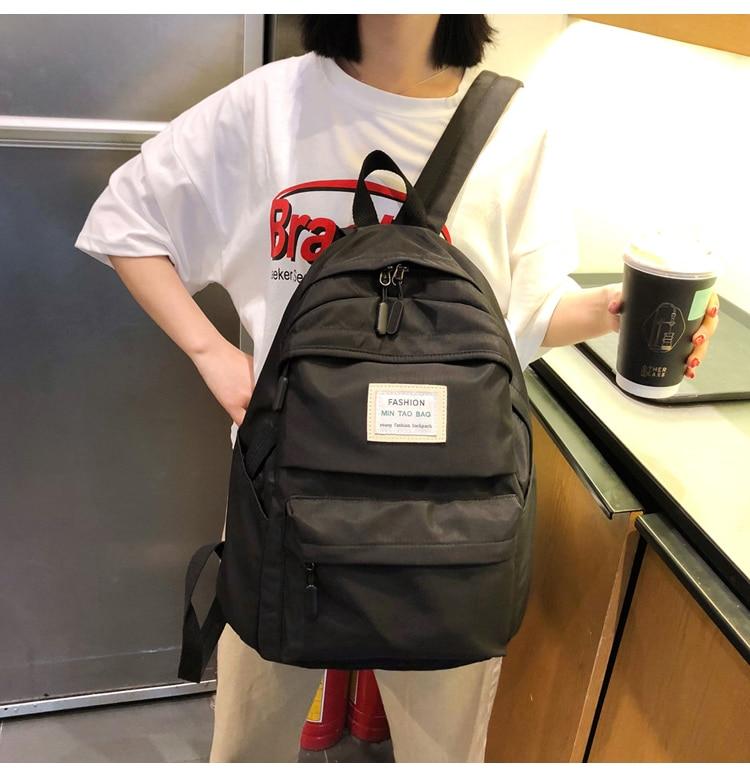 Nylon Backpack Women Backpack Solid Color Travel Bag Large Shoulder Bag For Teenage Girl Student School Bag Bagpack Rucksack