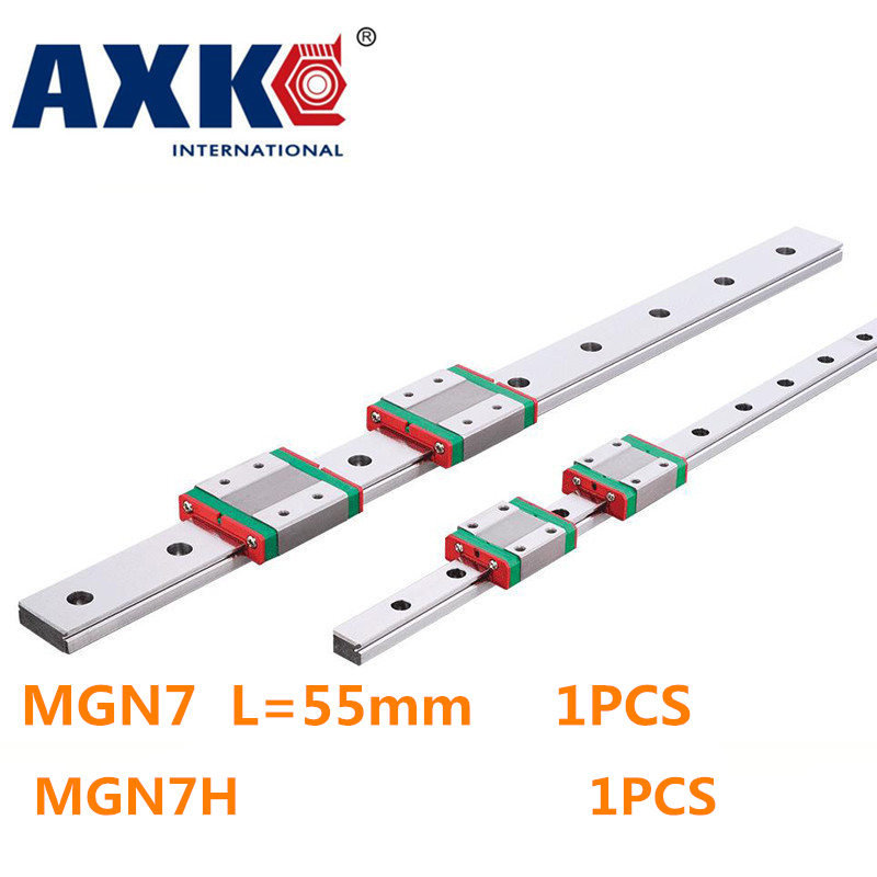 New Miniature Linear Guide MGN7 L= 55mm guideway + MGN7H Long blocks carriage for X Y Z Axis the linear guide to linear algebra toothed belt drive linear guideway actuator for sofa for xy structure