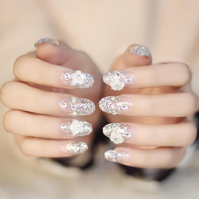 Cute Wedding Unhas 24pcs Long Sharp Glitter Flower Tips For Nail Art